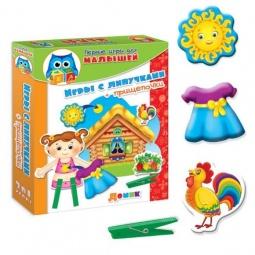 фото Игра настольная развивающая Vladi Toys «Прищепочки и липучки. Домик»