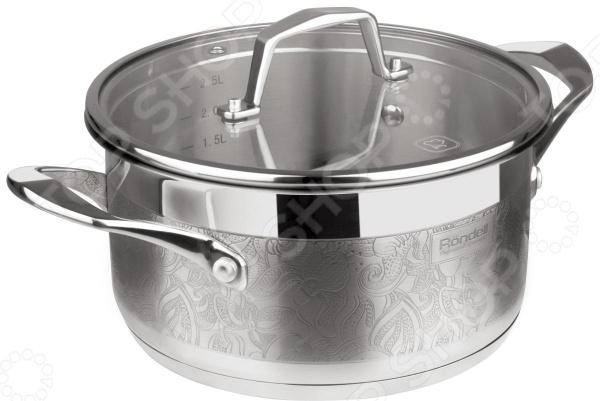Кастрюля с крышкой Rondell RDS-397Кастрюли<br>Кастрюля с крышкой Rondell RDS-397 - удобная и практичная модель станет незаменимым помощником на кухне. Предназначена для приготовления самых различных блюд, в ней можно сварить первые блюда, а так же потушить овощи, мясо и рыбу. Кастрюля выполнена из высококачественных материалов, что значительно продлевает срок ее службы. Равномерное распределение тепла способствует ускорению процесса приготовления блюд, при этом сохраняются все полезные вещества и витамины. Благодаря особому креплению, исключается возможность нагрева ручек. Так же в комплект входит крышка из закаленного стекла, с удобной ручкой, которая так же не нагревается. Объем кастрюли - 2,5 л.<br>