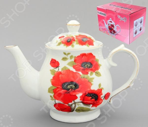 Чайник заварочный Elan Gallery «Маки» 180500 elan gallery чайник с поршнем viva полоски