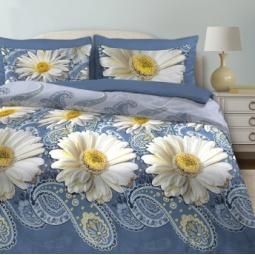 фото Комплект постельного белья Любимый дом «Русский узор». Рисунок: ромашки. 1,5-спальный