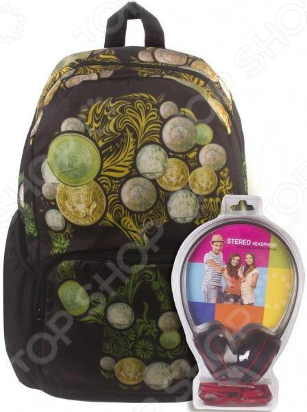 Рюкзак с наушниками 3D Bags «Роджер-Монеты»Рюкзаки<br>Рюкзак с наушниками 3D Bags Роджер-Монеты прекрасное сочетание броского дизайна, лаконичности, комфорта использования и практичности. Это идеальный рюкзак для современных парней и девушек, которые стремятся выделить себя на фоне окружающих, показать творческий и неординарный стиль мышления, а также приверженность к оригинальным вещицам. Прочный рюкзак с вместительным отделением станет надежным хранилищем для самых разнообразных вещей, которые могут понадобиться во время похода в учебное заведение, путешествия или прогулки. Вы можете легко поместить в него спортивную форму, учебники с тетрадями или же технику. Такой рюкзак подойдет абсолютно каждому, кто любит необычные аксессуары. Стоит отметить, что рисунок на изделии выполнен очень стойкими красками, которые длительное время сохраняют насыщенность цвета. Рюкзак выделяется не только ярким дизайном, но и надежностью. Он имеет прочную петлю для ношения в руках и широкие регулируемые лямки. Они позволят оптимально распределить нагрузку на позвоночник и предотвратят натирание кожи. Благодаря этому во время длительной прогулки вы точно не будете ощущать усталость и тяжесть в мышцах. Дополнительно предусмотрены отделения в передней и боковых частях рюкзака для размещения различных мелочей, к которым необходим быстрый доступ. Особую радость этот рюкзак принесет меломанам, ведь он дополнен мощными наушниками. Вы в любое удобное время сможете насладиться любимой музыкой и почувствовать себя единым целым с душой городских улиц!<br>
