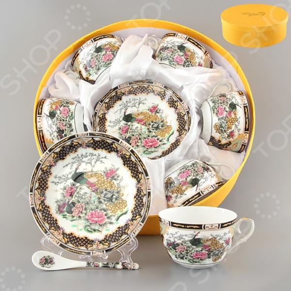 Чайный набор с ложками Elan Gallery «Павлин на золоте»