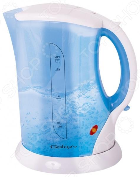 Чайник Galaxy GL 0104Чайники электрические<br>Удобный и простой в использовании чайник Galaxy GL 0104 изготовлен из термостойкого пластика. Благодаря мощности в 2200 Вт и нагревательному элементу открытого типа, быстро вскипятит воду объемом до 1,7 литров. На рынке бытовой техники этот прибор пользуется неизменной популярностью благодаря высокому качеству, безопасности и удобству в использовании. Модель оснащена индикатором включения выключения, шкалой уровня воды и съемным фильтром против накипи. В целях безопасности имеются функции блокировки включения без воды и автоматического отключения при закипании. Благодаря стильному дизайну, чайник Galaxy GL 0104 впишется в любую современную кухню.<br>