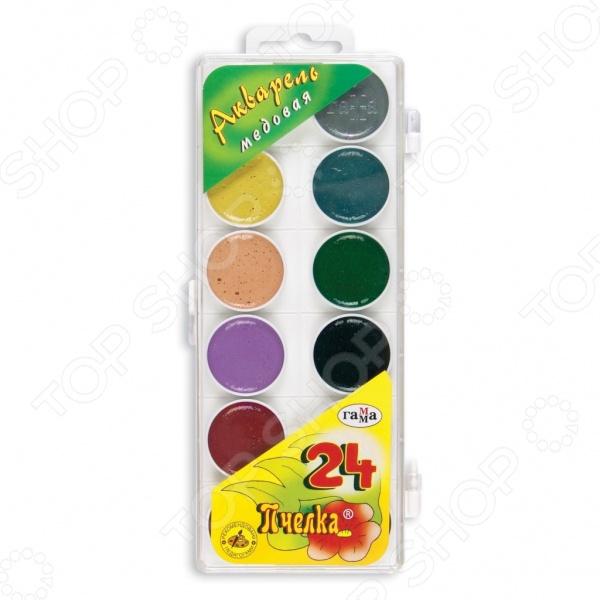 Акварель медовая Гамма «Пчелка»: 24 цветаУголь. Пастель. Краски. Блестки<br>Не секрет, что рисование является для детей одним из самых любимых и увлекательных занятий. Оно, в полной мере, раскрывает творческий потенциал и способствует развитию у малышей фантазии и воображения. Помимо этого, рисуя или разукрашивая, ребенок учится правильно сочетать цвета, запоминает их названия и основные оттенки. Акварель медовая Гамма Пчелка станет отличным приобретением для юного художника. Акварель является водорастворимой краской и содержит в своем составе органические пигменты. В качестве связующего вещества используется натуральный пчелиный мед. Среди основных преимуществ медовой акварели можно отметить яркий насыщенный цвет красок и устойчивость к выгоранию по действием прямых солнечных лучей. Товар прошел строгую сертификацию и соответствует всем нормам безопасности, применяемым к данному типу продукции.<br>