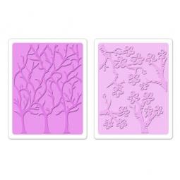 фото Набор форм для эмбоссирования Sizzix Textured Impressions Цветущая вишня и деревья