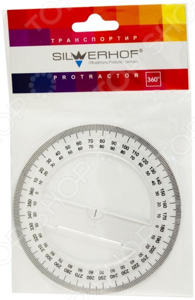 Транспортир Silwerhof 160098 представляет собой чертежный инструмент, используемый для построения углов и измерения их величины. Он незаменим при выполнении различных чертежей и решения геометрических задач. Транспортир круговой; это позволяет измерять величины острых, прямых и тупых углов. Инструмент изготовлен из высокопрочного пластика и снабжен миллиметровой шкалой.