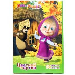 фото Набор картона цветного Росмэн «Маша и Медведь» 2: 10 цветов