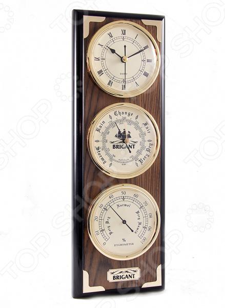 Часы-метеостанция настенные Brigant 28141Часы настенные<br>Часы-метеостанция настенные Brigant 28141 это не только изысканное украшение вашего дома, но и полезное устройство для измерения времени и погодных условий. Изделие состоит их нескольких механических приборов, с помощью которых вы сможете судить о погоде в ближайшее время. Классический прямоугольный корпус выполнен из дерева и стекла, с элементами металла. Для сохранения изначального блеска лакового покрытия нужно лишь протирать поверхность сухой мягкой тканью. Домашняя метеостанция послужит благородным украшением интерьера, позволяя чувствовать себя истинным аристократом. В самом низу располагается гигрометр, который измеряет влажность воздуха в помещении и позволяет поддерживать необходимые условия. Над ним установлен механический барометр для определения атмосферного давления. Он пригодится тем, у кого резкие перепады вызывают неприятные ощущения и головные боли. Следующим приборов являются классические механические часы с римским циферблатом, которые заводятся вручную и точно отсчитывают время. Домашняя метеостанция восхитительный подарок, который не только порадует владельца, но и окажется весьма полезным приобретением.<br>