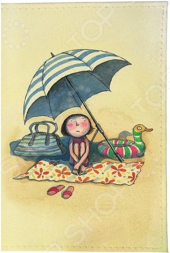 Обложка для паспорта кожаная Mitya Veselkov «Девочка на пляже под зонтом»Обложки для паспортов<br>Mitya Veselkov Девочка на пляже под зонтом это современная и ультрамодная обложка для вашего паспорта. Украшенная дизайнерским принтом с внешней стороны модель, предназначена для людей, которые хотят сделать жизнь ярче, красочней, а к традиционным вещам подходят творчески. Изделие подходит как для внутреннего, так и заграничного удостоверения личности. Изготовленная из натуральной кожи обложка, надежно защитит важный документ от внешнего воздействия, поэтому он всегда будет как новый. Придайте паспорту оригинальности и подчеркните свою уникальность!<br>