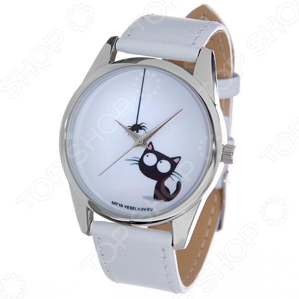 Часы наручные Mitya Veselkov «Кошка и паучок» MV.White