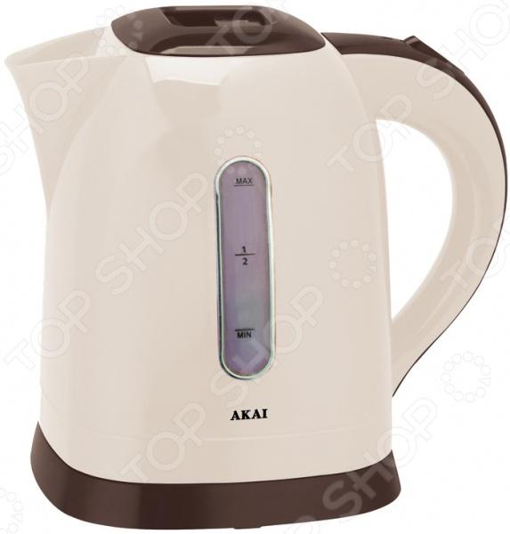 Чайник Akai KP - 1090 MЧайники электрические<br>Удобный и простой в использовании чайник Akai KP - 1090 M изготовлен из высококачественного термостойкого пластика. Благодаря мощности в 2200 Вт и нагревательному элементу скрытого типа, он быстро вскипятит воду объемом до 1,6 литров. На рынке бытовой техники этот прибор пользуется неизменной популярностью благодаря высокому качеству, безопасности и удобству в использовании. Модель оснащена световым индикатором включения выключения, наглядной шкалой уровня воды и фильтром против накипи. Цоколь с центральным контактом позволяет поворачивать прибор на 360 . Кабель удобно хранить в подставке. В целях безопасности имеются функции блокировки включения без воды и автоматического выключения при закипании. Благодаря стильному дизайну, чайник Akai KP - 1090 M впишется в любую современную кухню.<br>