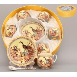 Купить Кофейный набор с ложками Elan Gallery «Павлин на бежевом»
