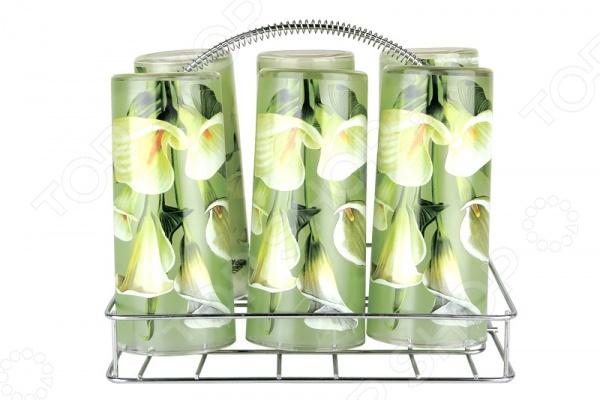 Набор стаканов с подставкой Коралл «Калла» набор кухонных принадлежностей коралл набор кухонных принадлежностей марокканский цветок коралл 450мл