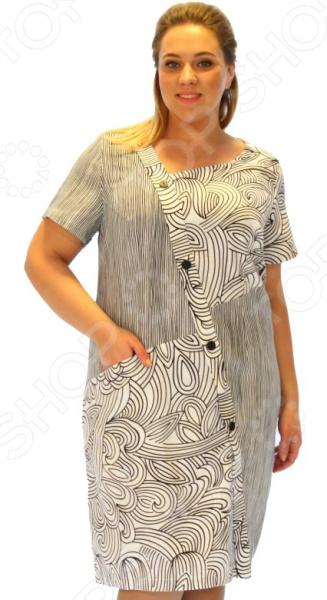 Платье D`imma «Каллиста»Повседневные платья<br>Платье D imma Каллиста это легкое платье, которое поможет вам создавать невероятные образы, всегда оставаясь женственной и утонченной. Контрастное сочетание вертикальной полоски и крупного орнамента удачно подчеркивает достоинства фигуры. В этом платье вы будете чувствовать себя блистательно как на празднике, так и на вечерней прогулке по городу.  Втачные короткие рукава хорошо сочетаются с оригинальным вырезом горловины.  Ассиметричное расположение вставок с абстрактным узором.  Асимметрия присутствует и в форме горловины, и в расположении оригинальной планки, украшенной декоративными пуговицами.  Небольшой карман спереди. Благодаря натуральному составу кожа дышит и не преет 70 хлопок, 30 вискоза . Материал прекрасно пропускает воздух и не задерживает влагу. Даже после длительных стирок и использования платье будет выглядеть прекрасно.<br>
