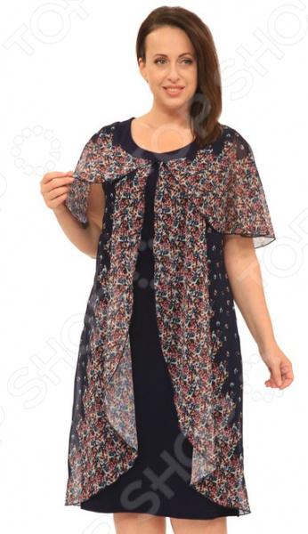Платье Матекс «Цветочный август». Цвет: синийПовседневные платья<br>Платье Матекс Цветочный август это легкое платье, которое поможет вам создавать невероятные образы, всегда оставаясь женственной и утонченной. Благодаря свободному крою оно скроет недостатки фигуры и подчеркнет достоинства. В этом платье вы будете чувствовать себя блистательно в любой ситуации. Можно отметить следующие преимущества:  Длина чуть ниже колена.  Короткие широкие рукава.  Интересный крой и шифоновый верх корректируют недостатки в области живота и боков. Платье изготовлено из мягкого материала 95 вискоза, 5 полиэстер, накидка: 100 полиэстер , благодаря чему материал не скатывается и не линяет после стирки. Даже после длительных стирок и использования платье будет выглядеть прекрасно.<br>