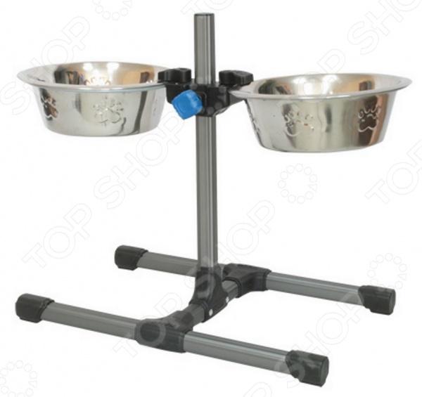 Подставка для мисок DEZZIE «Лифт»Миски для собак<br>Подставка для мисок DEZZIE Лифт станет прекрасным дополнением к набору ваших аксессуаров и принадлежностей по уходу за любимым питомцем. Модель функциональна, снабжена двумя отделениями: для воды и для корма. Преимущество использования такой подставки заключается в том, что можно регулировать высоту сразу двух мисок. Корпус подставки выполнен из высокопрочного алюминия, а миски из нержавеющей стали. Использованию утяжелителей придает модели дополнительную устойчивость. В качестве утяжелителей можно использовать любой сыпучий материал.<br>