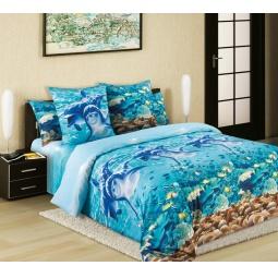 фото Комплект постельного белья Королевское Искушение «Дельфины». Семейный