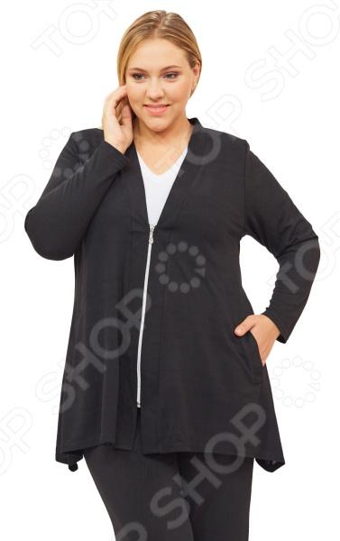 Кардиган Pretty Woman «Паула». Цвет: черныйДжемперы. Кардиганы. Свитеры<br>Кардиган Pretty Woman Паула создан с учетом всех особенностей женской фигуры. Изделие поможет вам создавать невероятные образы, всегда оставаясь женственной и утонченной. Благодаря грамотному крою он скроет несовершенства силуэта и подчеркнет его достоинства.  Оригинальный кардиган полуприталенного силуэта с подплечниками. От линии талии расширяется.  Центральная застежка на молнию.  Удобные боковые карманы.  V-образный вырез горловины визуально удлиняет шею и выгодно подчеркивает зону декольте.  На фотографии кардиган представлен в сочетании с брюками Лунная походка . Кардиган сшит из приятной эластичной ткани, состоящей на 80 из вискозы и на 20 из полиэстера. Материал не линяет, не скатывается, формы от стирки не теряет.<br>