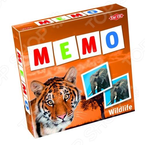 Игра развивающая Tactic 41441 «Мемо. Дикие животные 2»Другие обучающие и развивающие игры<br>Игра развивающая Tactic Games 41441 Мемо. Дикие животные 2 представляет собой комплект ярких, красочных качественных фотографий диких животных. Такая игра познакомит с различными видами зверюшек и научит скорости и внимательности: разложите карты на столе и по очереди открывайте каждую. Как только кто-то заметит, что на столе появилась пара, он должен стукнуть по первой открытой карте из пары. И это только один их многих вариантов игры. Игра поможет развить усидчивость, внимательность, память и логическое мышление ребенка, а также пополнит любую коллекцию настольных игр семьи.<br>
