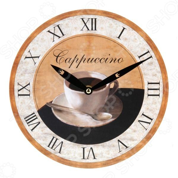 Часы настенные Mitya Veselkov «Капучино-1»Часы настенные<br>Часы настенные Mitya Veselkov Капучино-1 оригинально выполненная вещь, которая станет прекрасным дополнением комнаты или офиса. Часы преобразят интерьер и придадут ему особое настроение. Имеет кварцевый механизм. Диаметр часов 23 см.<br>