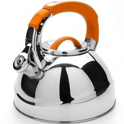 фото Чайник со свистком Mayer&Boch Flat Bottom. Цвет: оранжевый