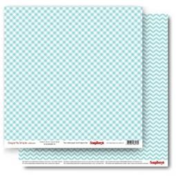 фото Бумага для скрапбукинга двусторонняя ScrapBerry's «Клетка. Перламутровая бирюза»