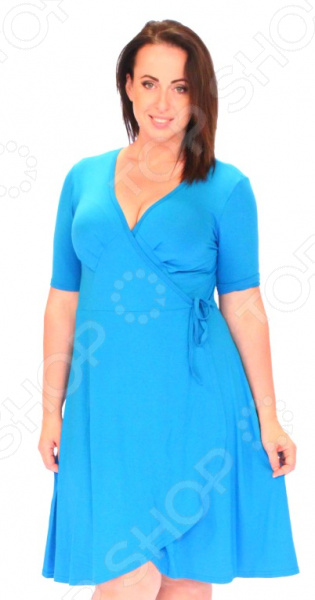 Платье Матекс «Легкое мгновение». Цвет: голубойПовседневные платья<br>Платье Матекс Легкое мгновение это легкое платье, которое поможет вам создавать невероятные образы, всегда оставаясь женственной и утонченной. Благодаря свободному крою оно скроет недостатки фигуры и подчеркнет достоинства. В этом платье вы будете чувствовать себя блистательно в любой ситуации. Женственная длина ниже колена великолепно подойдет для любого типа фигуры. Можно отметить следующие преимущества:  Длина чуть ниже колена.  V-образный вырез горловины удлиняет шею и помогает области декольте выглядеть роскошно и соблазнительно.  Короткие рукава из шифона, которые могут скрыть несовершенства в области плеч.  Внутри завязки, снаружи пришит пояс. Платье изготовлено из шифона 95 вискоза, 5 полиэстер , благодаря чему материал не скатывается и не линяет после стирки. Даже после длительных стирок и использования платье будет выглядеть прекрасно.<br>
