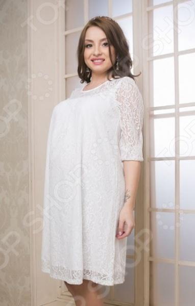 Платье для беременных Nuova Vita 2153.02Платья для беременных<br>Гипюровое платье для беременных Nuova Vita 2153.02 подчеркнет ваш изысканный вкус и поможет создать женственный и гармоничный образ. Модель универсальна, прекрасно подходит для повседневного ношения и хорошо сочетается как с каблуками, так и с обувью на низком ходу. Благодаря свободному силуэту, платье не стесняет движений, удобно и практично в носке. Модель отличается стильным дизайном и великолепным качеством пошива, снабжена круглым вырезом и рукавами 3 4. Особую элегантность платью придает оригинальный кружевной узор.<br>
