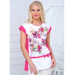 фото Туника женская BeGood SS15-UER-LTU-878. Цвет: белый, розовый. Размер одежды: 54