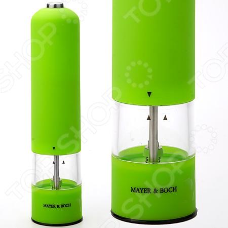 Мельница электрическая Mayer&amp;amp;Boch MB-24164Перечницы<br>Мельница электрическая Mayer Boch MB-24164 просто незаменимая вещь на кухне любой современной хозяйки. С ней приготовление и употребление пищи переходит на качественно новый уровень. Электрическая мельница с легкостью справится с горошинами перца или крупными кристаллами соли. Надежный и прочный механизм мельницы запускается при нажатии на кнопку. Имеет регулировку степени измельчения. Внутренняя стенка сделана из АБС, контейнер из акрила, а сама поверхность полированная нержавеющая сталь. Работает от 6 АА батареек не входят в комплект .<br>
