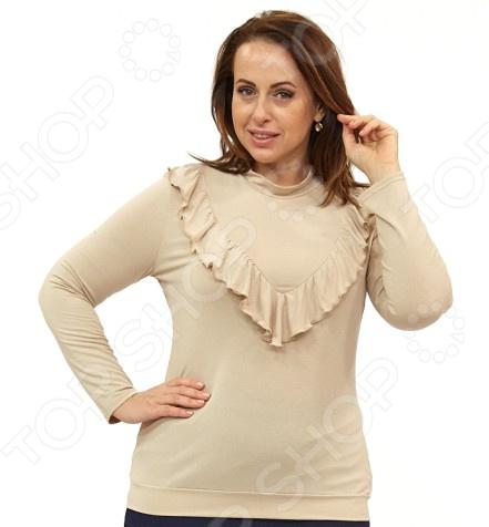 Блуза Матекс «Прекрасный танец». Цвет: бежевыйБлузы. Рубашки<br>Блуза Матекс Прекрасный танец незаменимая вещь в гардеробе модницы. Подойдет для женщин практически любой комплекции, ведь особенности кроя помогают скрыть недостатки и подчеркнуть достоинства фигуры. Эта блуза полуприталенного силуэта отлично подойдет для повседневного использования.  Удобная длина на уровне бедра будет идеально смотреться на женщинах с любым типом фигуры и любого возраста.  Выразительный фасон позволяют надеть ее не только в офис или на прогулку, но и на официальные мероприятия.  Воротник стойка визуально удлинит горло и подчеркнет плавность черт.  Низ на манжете. Спереди декоративный элемент в виде оборок из того же материала и в тон изделия.  На фото с юбкой Венера . Блуза изготовлена из высококачественного трикотажа 95 вискоза, 5 полиэстер . Полиэстер предохраняет вещь от измятия и быстро высыхает после стирки.<br>