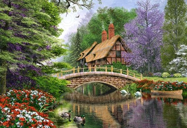 Пазл 1000 элементов Castorland «Дом у реки»