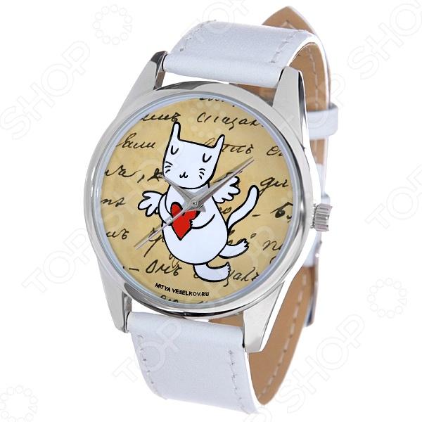 Часы наручные Mitya Veselkov «Кошка-амур с сердцем»Женские наручные часы<br>Часы наручные Mitya Veselkov Кошка-амур с сердцем стильный аксессуар, который дополнит ваш образ. Сочетаются с необычной и яркой одеждой. Часы выполнены в оригинальном стиле в сочетании с приятными и мягкими тонами, которые добавляют настроение. Дизайн и ручная сборка Митя Весельков. Снабжены регулируемым под запястье ремешком из натуральной кожи с классической застежкой. Часовой механизм: кварцевый, Citizen Япония . Стекло минеральное с PVD покрытием. Корпус изготовлен из сплава металлов, а крышка из стали.<br>