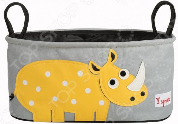 Сумочка-органайзер для коляски 3 Sprouts «Носорог»Аксессуары к коляскам<br>Сумочка-органайзер для коляски 3 Sprouts Носорог сделает ваши прогулки с малышом еще более комфортными и удобными! С таким практичным аксессуаром все необходимые вещи будут прямо у вас под рукой. Для большего удобства в сумке предусмотрены два отдельных отсека для стакана или бутылочки. Также предусмотрен потайной кармашек, куда для сохранности можно сложить свой телефон и ключи. В большой и вместительный основной отсек можно сложить удивительное множество детских вещей от панамки, заканчивая парой сменной одежды или игрушек. Удивительно практичная подвесная конструкция с петлями позволяет вешать сумку на разные ручки коляски. При желании изделие можно сложить, так оно не будет занимать много места. Приятным бонусом подвесной сумки является её очаровательный дизайн с аппликацией в виде носорога в горошек.<br>