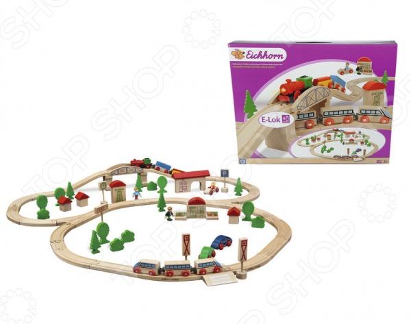 Набор деревянной железной дороги Eichhorn с мостом и 2 поездами. В ассортименте