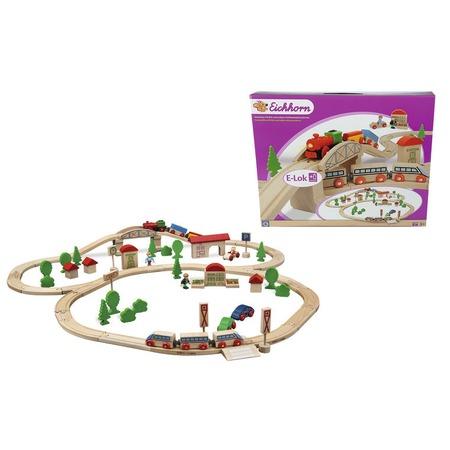 Купить Набор деревянной железной дороги Eichhorn с мостом и 2 поездами. В ассортименте