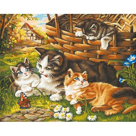 Купить Набор для рисования по номерам Schipper «Семейство кошачьих»