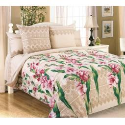 фото Комплект постельного белья Королевское Искушение с компаньоном «Гладиолусы». 2-спальный. Цвет: бежевый