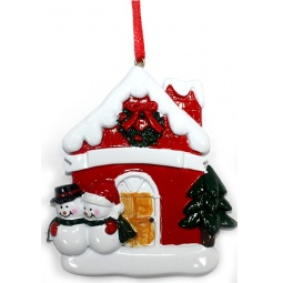 фото Елочное украшение Crystal Deco «Домик с парой Снеговиков»