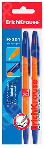 Набор ручек шариковых Erich Krause R-301 OrangeРучки для школы<br>Набор ручек шариковых Erich Krause R-301 Orange - набор простых, но в то же время необходимых пишущих инструментов. Ручки пригодятся как в учебе, так и на работе. В набор входят 4 ручки с яркими корпусами, выполненными из высококачественного пластика. Зона хвата имеет рифленую поверхность, которая не дает пальцам скользить и обеспечивает дополнительным комфорт при письме. Чернила ручек не токсичны, поэтому этот набор подходит даже маленьким детям. Металлический наконечник обеспечивает четкие линии толщиной 0,7 мм.<br>