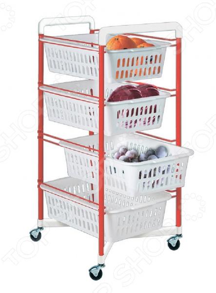 Стеллаж на колесах ARTEX s.p.a Roma 4Стеллажи<br>Стеллаж на колесах ARTEX s.p.a Roma 4 универсальная конструкция, которая найдет достойное применение как в ванной комнате, так и в прихожей или на кухне. Стеллаж можно использовать в качестве компактной полки для хранения обуви, передвижной тележки для хранения бытовой химии или кухонных принадлежностей. Четыре яруса с выдвижными пластиковыми ящиками позволят с удобством разместить все необходимые вещи. Конструкция выполнена из прочной стали. Для надежной защиты от ржавчины и коррозии стеллаж имеет порошковое полимерное покрытие. Для большей мобильности предусмотрены четыре колесика.<br>