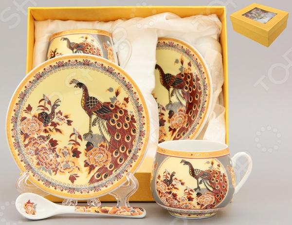 Кофейная пара с ложками Elan Gallery «Павлин на бежевом»