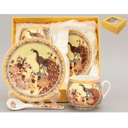 Купить Кофейная пара с ложками Elan Gallery «Павлин на бежевом»