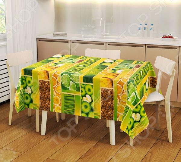 Набор: скатерть и 2 полотенца ТексДизайн «Тропический остров» 1719360Кухонные полотенца. Прихватки<br>Кухня и столовая пожалуй самые важные комнаты в доме, ведь они становятся местом встреч всей семьи. Уют в этих комнатах зависит не только от правильно подобранного интерьера, мебели или элементов декора. Особую роль в создании комфортной для всей семьи атмосферы играет домашний текстиль. Внимание нужно уделять не только гардинам, шторам и коврам, но так же и скатертям и салфеткам, которые способны мгновенно преобразить вашу комнату, привнести нотку торжественности и непревзойденного лоска. Набор: скатерть и 2 полотенца ТексДизайн Тропический остров 1719360 станет потрясающим украшением вашего праздничного или обеденного стола. Скатерть размером 150х145 см и полотенца размером 47х70 см выполнены из качественной и прочной хлопковой ткани. Благодаря использованию натуральных материалов, набор отличается своей практичностью и простотой в уходе. Для вашего удобства предусмотрена водоотталкивающая пропитка, которая не позволяет ткани впитывать лишнюю влагу. Яркий и красочный дизайн придает набору особый стиль и изысканность. С ним праздничный стол будет выглядеть ещё более роскошным и богатым.<br>