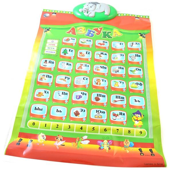 Плакат обучающий звуковой Tongde Алфавит - весьма грамотное сочетание веселья и задора, развития и развлечения, созданное специально для вашего дорого малыша! Азбука представляет собой настенную-настольную развивающую игру азбуку. Принцип заключается в изучении русского алфавита в форме игры, задача - правильно ответить на все задания, которые предлагает игра. Основными преимуществами данной модели стали: звуковой и световой эффекты, возрастная категория, материал изготовления, габариты, вес, назначение, яркость расцветки.