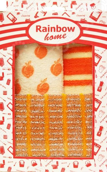 Набор для уборки: 2 салфетки и губка Rainbow home «Абразив» губка для мытья посуды rainbow home цветок