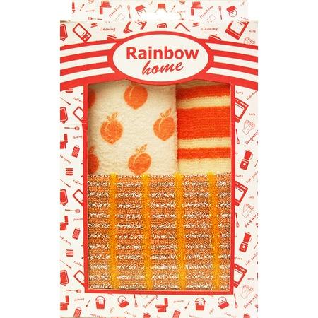 Купить Набор для уборки: 2 салфетки и губка Rainbow home «Абразив». В ассортименте