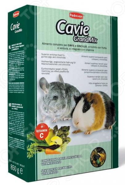 Корм для морских свинок и шиншилл Padovan Grandmix CavieКорм<br>Корм для морских свинок и шиншилл Padovan Grandmix Cavie сбалансированная высококачественная смесь для ежедневного употребления. Корм содержит большое количество фруктов, овощей, минералов и витаминов. Особенно необходим витамин C, так как морские свинки не способны синтезировать его самостоятельно. Состав: лущёный овёс 8,5 , кукуруза 5 , пшеница 4,2 , рис, ячмень, чечевица 12,8 , морковь, изюм, яблоко, рожь, можжевеловые ягоды, зерновые продукты и субпродукты, сухой фураж, продукты масличных семян и субпродукты, минералы, сахар и сахарные субпродукты.<br>