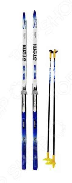Комплект лыжный ATEMI Escape STEP 2012 75 мм этот лыжный комплект состоит из: высококачественных лыж, креплений и палок. Лыжи имеют скользящую поверхность из экструдированного полиэстера. Облегченный деревянный клин с воздушными каналами. Модель со степ насечкой, не требующей нанесения мазей. Палки выполнены из 100 углеволокна. Крепления изготовлены из высокотехнологичного морозоустойчивого пластика. Лыжи ориентированы на тех, кто ведет активный образ жизни.
