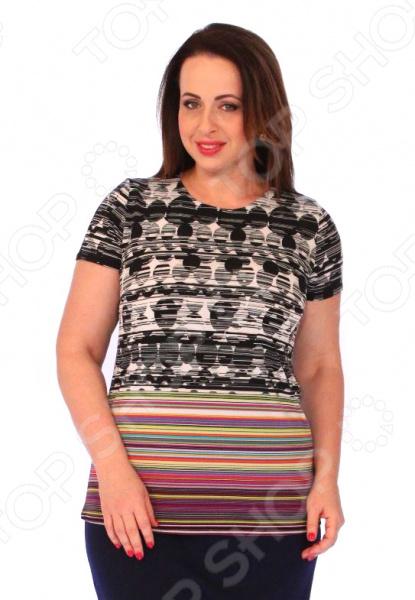 Блуза Wisell «Светлая лирика»Блузы. Рубашки<br>Блуза Wisell Светлая лирика незаменимая вещь в гардеробе модницы. Создана для женщин практически любой комплекции, ведь особенности кроя помогают скрыть недостатки и подчеркнуть достоинства фигуры. Эта блуза отлично подойдет для повседневного использования.  Стильная блузка прямого силуэта с интересным узором.  Круглый вырез горловины обработан внутренней обтачкой.  Короткие втачные рукава.  Швы обработаны эластичными нитями, поэтому не натирают кожу.  Уникальная модель, доступная только в телемагазине Top Shop . Блузка выполнена из эластичного трикотажного полотна 65 полиэстер, 30 вискоза, 5 эластан , которое отлично держит форму, не теряет цвет после стирки, не мнется, не скатывается.<br>